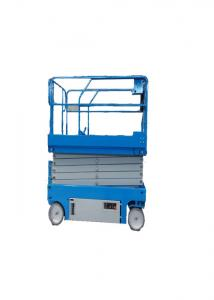 China Anti Dropping Two Man Scissor Lift Equipment , Electric Scaffold Lift Panels Control on sale