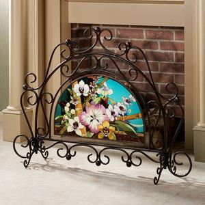 China Tropical Orchid Fireplace Screen on sale