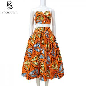 China Crop Top African Print Two Piece Dresses Suits Set Multi Color Customized Size on sale
