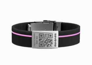 China Black band pink line silicone children ID bands with emergency id tags on sale