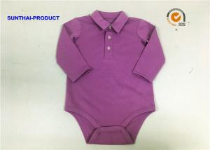 China Customized Newborn Baby Bodysuits Polo Collar Plastic Buttons Baby Boy Long Sleeve Onesies on sale