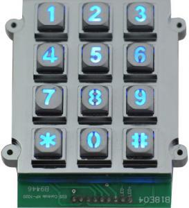 China Ruggedized Backlit 12 Keys Keypad Vandal Resistant Keypad Dot Matrix on sale