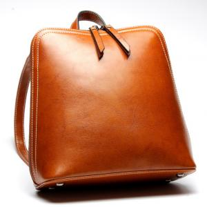 China Brown Oil Wax Cowhide Fashionable Backpacks Leather With Adjustable Strap on sale