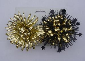 China Gold yellow 4Inch PET Firework fancy bows for wrapping paper , gift bags and tissue on sale