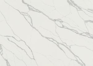 China High Density White Engineered Quartz Countertops Leather Finished Surfaces on sale
