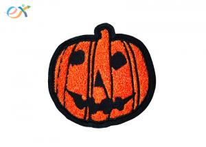 China Chenille Thread Towel Custom Embroidery Patch Felt Orange Pumpkin Halloween For Hats Logo on sale