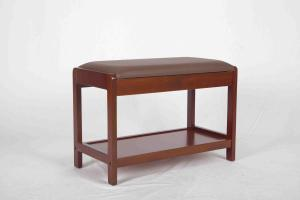 China 4.6KG Soild Modern Wood Furniture Walnut Shoe Storage Bench With PVC Leather on sale