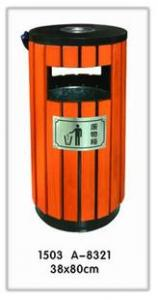 China Wooden and Stainless Steel Single outside and indoor  recycling garbage bin cans on sale