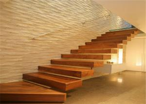 China Straight Shape Floating Floating Steps Staircase With Solid Oak Wood Steps on sale