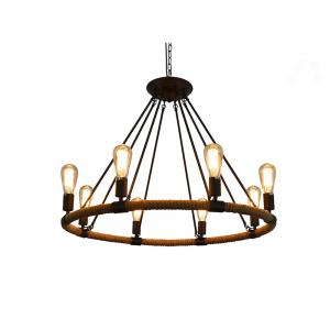 China Rustic Rope Chandeliers 8-light Pendant Lighting IRON Chandelier Lighting E27 lamp 100-240V AC on sale