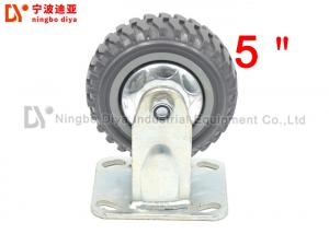 China 5 Inch Non Skid Heavy Duty Roller Wheels Flat Directional PU Caster Wheel Without Brake on sale