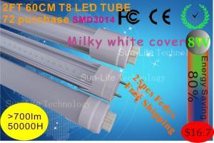 China Milky white cover LED TUBE 0.6M T8 8W 72LED SMD3014 100-265V LED lighting warm white natural white day white on sale