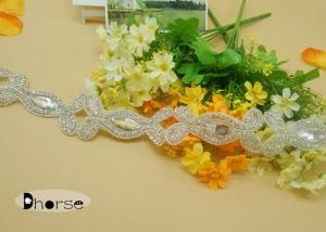 China Silver Beaded Iron On Rhinestone Crystal Trim For Wedding Dress on sale