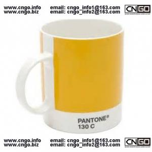 China Export PANTONE colors cup 130C 186C Color numbers ceramic mug on sale