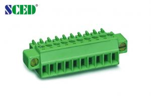 China Mounting Ears Pluggable Terminal Block 8A Plug Female Sockets Pitch 3.5mm Green on sale