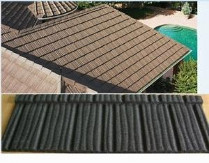 China stone coated metal wood shingle colour steel roof tiles / Anti - rainstorm on sale