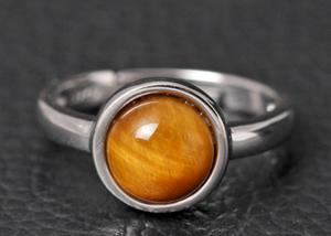 China Round Simple Sterling Silver Gemstone Rings With Natural Stone Inlaided on sale