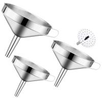 China Factory Supply Easy Hold Large Funnel Stainless Steel Hopper Set With Removable Strainer on sale