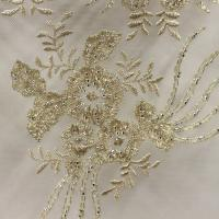1 yard New off white/nude/light gree/ pink 3D flowers embroidered heavy beaded wedding/evening