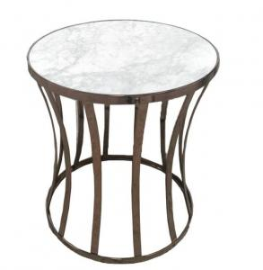 China Stone top with brass metal tube round side table/end table/coffee table for 5-star hotel bedroom on sale