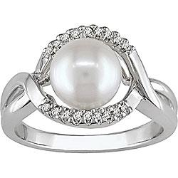 China Sterling Silver Cultured Freshwater Pearl and Diamond Ring on sale