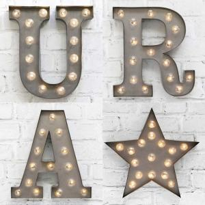 China Vintage Metal Small Marquee Letter Lights For XMAS / Wedding Party Decor on sale