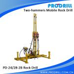 Two Hammer Pneumatic Mobile Rock Drilling for Horizontal Quarry Drilling