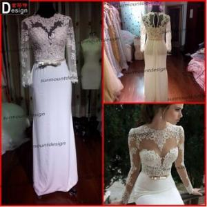 China 2014014 Surmount Real Sample 2015 Beautiful Venice Lace Top Chiffon Latest Design Formal Evening Gown on sale