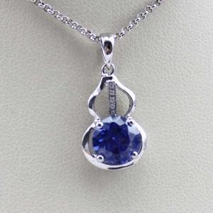 China Fashion Silver Jewelry 7mm Blue Cubic Zircon Stones Pendant(PSJ0415) on sale