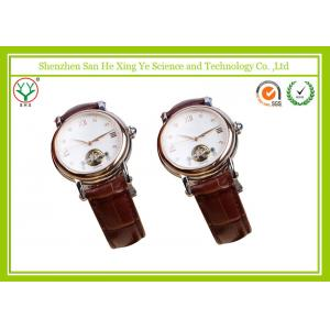 China Novelty Leather / Alloy Mens Automatic Watches With Tempered Glass Dial on sale