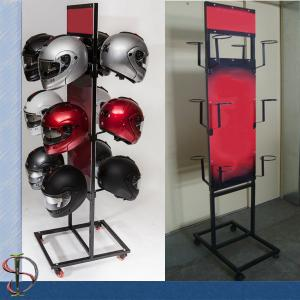 China Motorcycle Helmets Brand Metal Display Rack with graphic on sale