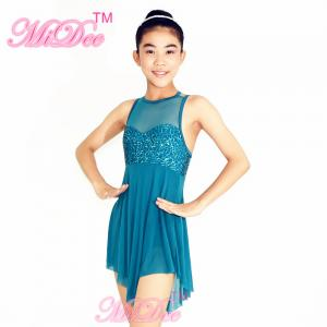 China Lyrical Ballet Dance Costumes Teal Magenta Confetti Sequin Bodice Dress on sale