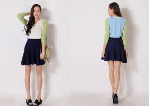 China Solid Black Drop Waist Ladies Sweater Dresses Jersey Knit Mini Skater Skirt on sale