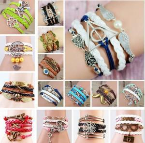 China Handmade multilayer leather bracelet,cross love leather bracelet,silver/antique brass plated  leather bracelet on sale