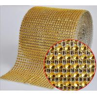 China Gold color Diamante Mesh Wrap rhinestone sew on trimming on sale