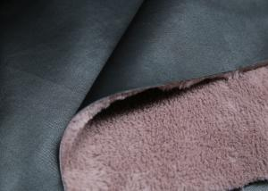 China Coat / Boots Bonded Leather Fabric Black Surface With Pink Backing Faux Fur on sale