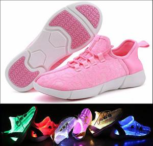 China Pink Fiber Optic LED Shoes Full Screen Display Girls Light Up Sneakers on sale