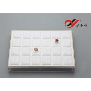 China Handmade White Jewelry Drawer Organizer Trays PU Leather With Acrylic Cover on sale
