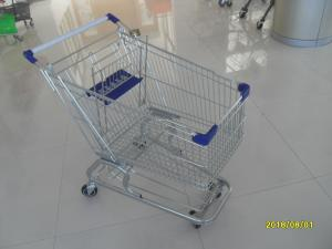 China 100L Low Tray Supermarket Shopping Trolley Zinc Plated  With Blue Baby Seat on sale