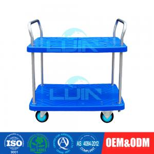 China Two Layer Light Duty Moving Platform Hand Pulled Trolley with 4 Wheels on sale
