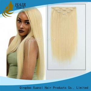 China Real Hair Remy Clip In Hair Extensions Double Drawn Silky Straight Style on sale
