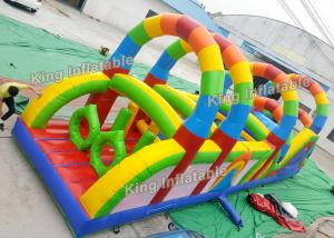 China 12 m Colorful Rainbow Printed Inflatable Obstacle Games Passing Courses PVC on sale
