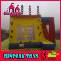 COM-279 Birthday Cake Design Inflatable Bouncer With Slide