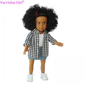 China Fashion cloth vinyl doll 18 inch girl half cloth body soft toy new denim skirt plaid shirt on sale