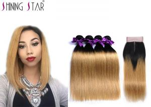 China Brazilian Weave Bundlles 4Pcs Ombre Blonde Straight Human Hair With Closure Color 1B27 Hair Weave​ on sale