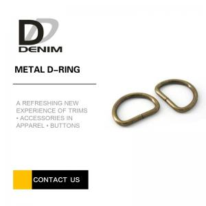 China 20mm Open Barrel Plating Metal D Ring , Antique Brass D Rings For Lady Handbags on sale