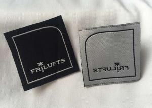 China Black Custom Embroidered Clothing Labels , Personalized Fabric Labels For Clothes on sale