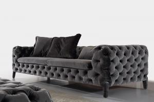 Quality Elegant Black Modern Fabric Sofas , Chesterfield Soft Furniture for sale