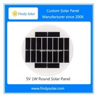 5V 1W Round Solar Panel, Monocrystalline, Tempered glass laminated, diameter 109mm