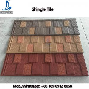 China Flat Roof Tile Zinc-Aluminium Stone Coated Steel Shingles Materials 0.45mm Thickness on sale